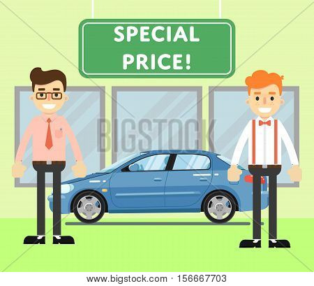 Special price for auto concept with blue comfortable sedan and car salesmen in showroom vector illustration. Auto dealership. Car sale design template in flat style. Sales occupation.