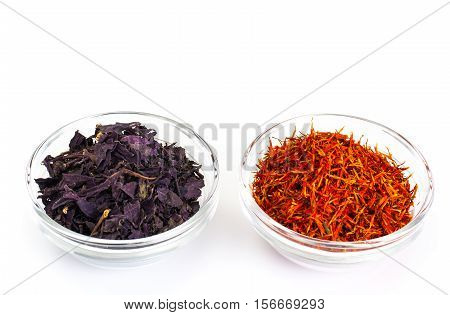 Basil, Saffron in a Glass Bowl on a White Background