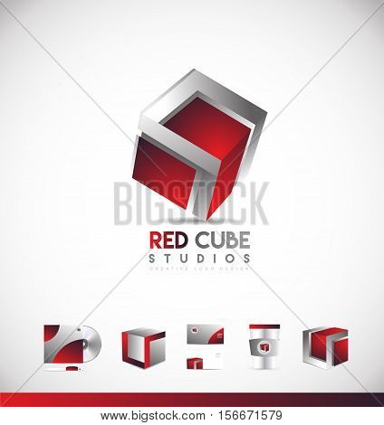 Red cube games media 3d vector logo icon sign design template corporate identity