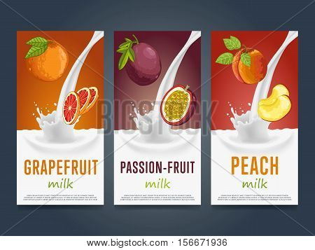 Milkshake concept with milk splash and fruit vector illustration. Milk dessert, yogurt, fruit mix, cocktail drink, fruit smoothie with grapefruit, passion fruit, peach packaging design. Dairy product.
