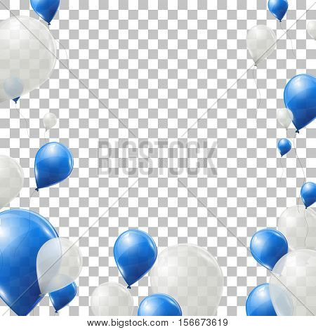 Blue and white helium balloons on transparent background. Flying latex ballons. Vector illustration.