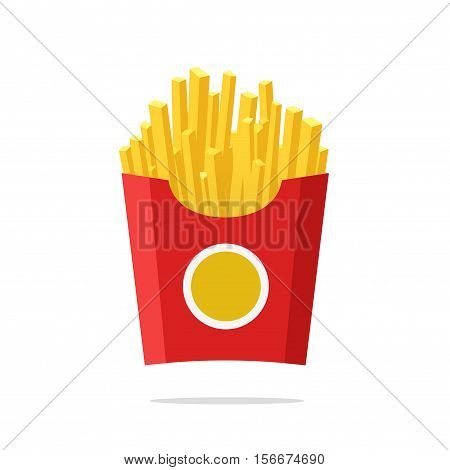 French fries vector illustration, flat cartoon style french-fried potatoes in paper box isolated, fried potato on white background