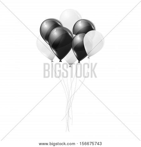 Black and white transparent helium balloons on white background. Flying latex ballons. Vector illustration.
