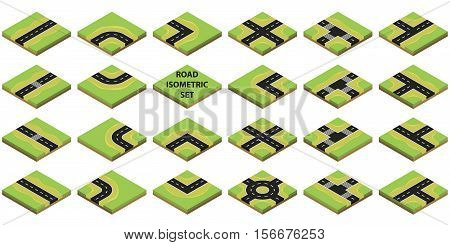 Constructor roads on Green Terrain in isometric view. Isometric road elements. Create your own isometric city road. Vector illustration.