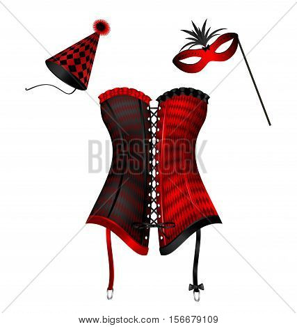 white background and the large red green black carnival corset of New Year, carnival hat and festive half mask