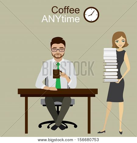 Secretary brought manager or office worker a lot of paper work, coffee any time, stock vector illustration