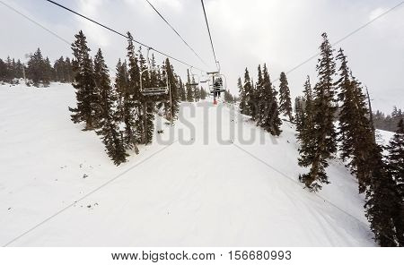 Typical winter day of alpine skiing at Loveland Basin ski area.