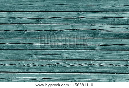 Weathered Cyan Color Log House Wall.