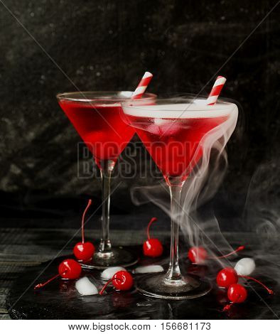 Fruit Liqueur Or Apirol, Martini Bianco With Cherries Cocktail