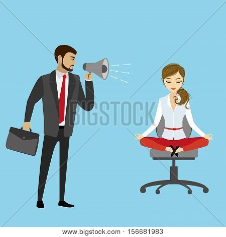 Boss with megaphone yelling at the girl manager or office worker business stress concept stock vector illustration