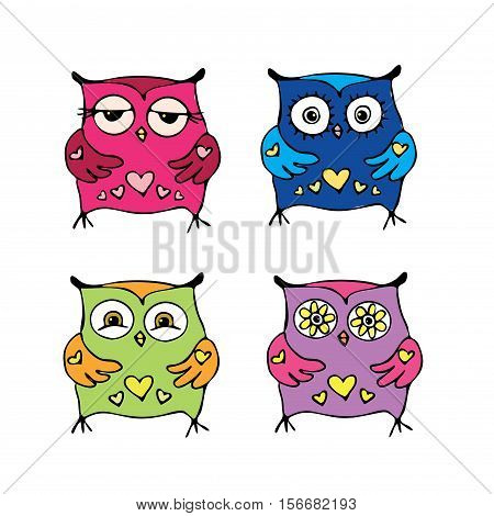 Set of cute owls, isolated on white background, hand drawn , stock vector illustration