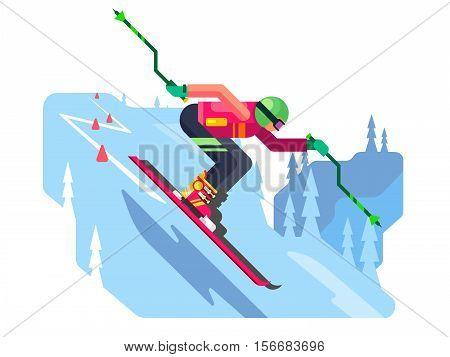 Slalom downhill skiing. Sport winter, speed skier extreme, active slope, flat vector illustration