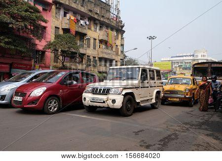 KOLKATA, INDIA - FEBRUARY 09: Cars stopped at a pedestrian crossing in Kolkata, India on February 09, 2016.