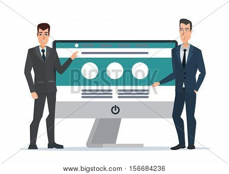 businessman's presents Website. Computer screen. Development project, SEO process information. Business cartoon concept. Vector illustration isolated on white background in flat style.