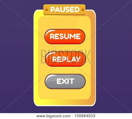 Game pause. Vector graphical user interface UI GUI for 2d video games. Vector illustration for your design