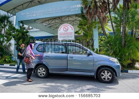 Muara,Brunei-Nov 10,2016:Entrance to Brunei Ferry Terminal with arrival of passengers at Serasa terminal ferry,Brunei.The main ferry terminal in Brunei is the Serasa Ferry Terminal at Muara,Brunei.