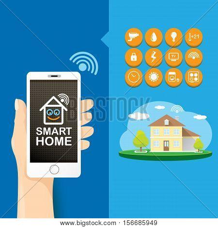 Smart house control vector concept illustration. Flat design style vector illustration concept of smart home control with mobile phone application.