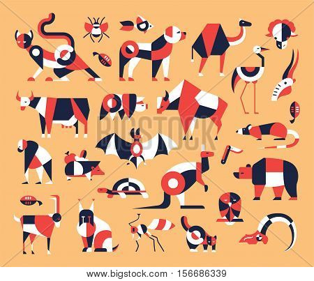 Animals - set of modern vector flat design icons and pictograms. Cat, dog, pig, cow, bear, bat, insect, fish, bird rodent kangaroo goat rat turtle