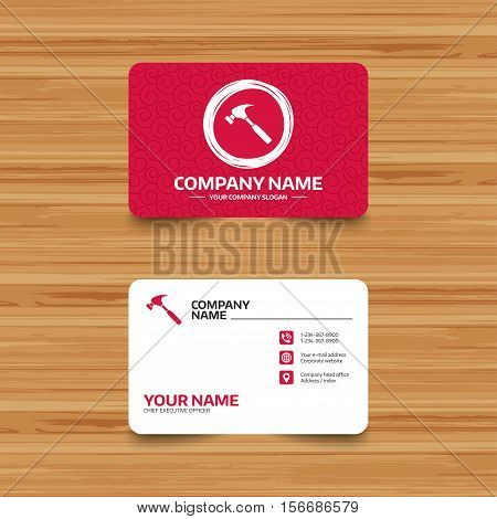 Business card template with texture. Hammer sign icon. Repair service symbol. Phone, web and location icons. Visiting card  Vector