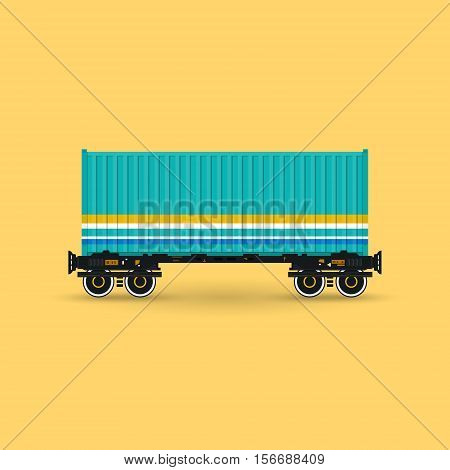 Green Container on Railroad Platform Isolated on Yellow Background, Railway and Container Transport, Vector Illustration