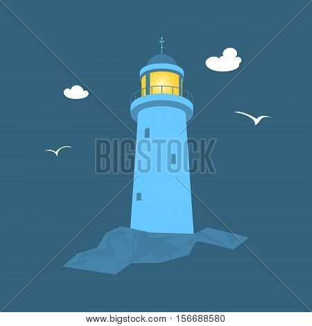 Beacon at Sea, Lighthouse Stands on Rocks, Vector Illustration