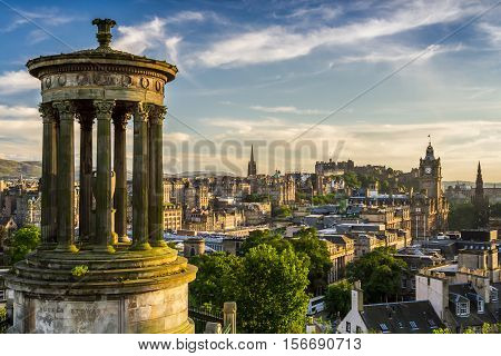 Beautiful View Of The City Of Edinburgh From Calton Hill
