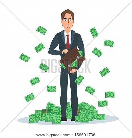 Successful businessman standing near a pile of money. Dollars falling from the sky. In the hands of a bag with money. Vector illustration isolated on white background in flat style.
