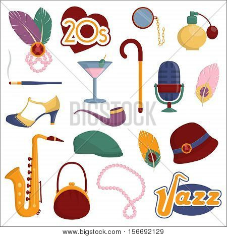 Collection of vintage retro 1920s style items that symbolize the 20s decade fashion accessories, style attributes, leisure items and innovations.