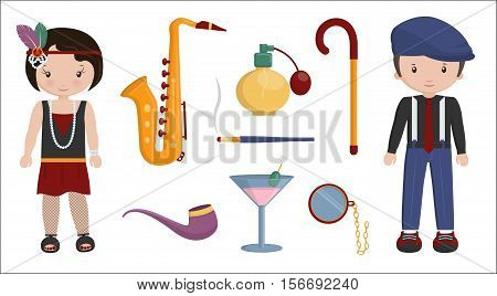 Vintage retro set of 1920 style boy and girl characters and items that symbolize 20s decade fashion, style, leisure items and innovations.