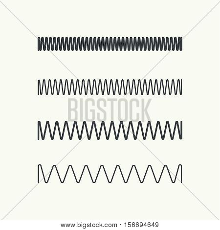 Set coil spring vector icon. Induction spiral electrical symbol.