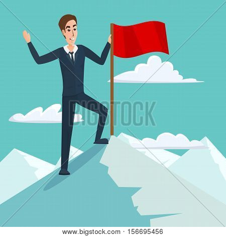 Businessman with flag on Mountain peak, success and mission, target victory motivation, winner on top. Business cartoon concept. Vector creative color illustrations flat design in flat modern style.