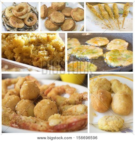 variety of food with fried snack and appetizers