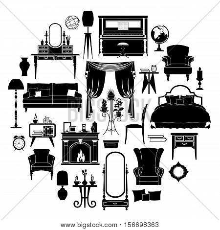 Set of silhouettes of furniture. Templates and stencils for your design. Different vector furniture and home decoration isolated on white background.