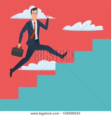 Businessman running up ladder of success vector illustration. Career and professional growth. Business cartoon concept. Vector creative color illustrations flat design in flat modern style.