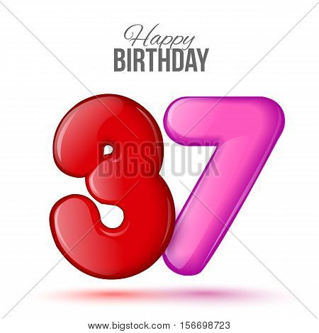 thirty seven birthday greeting card template with 3d shiny number thirty seven balloon on white background. Birthday party greeting, invitation card, banner with number 37 shaped balloon