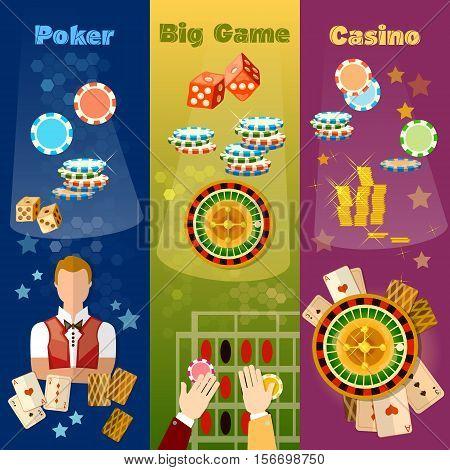 Casino banner poker game roulette casino games vector illustration