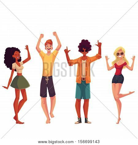 Young people dancing on the beach, cartoon style vector illustrations isolated on white background. Young men and women, teenagers, boys and girls dancing at party in beach clothes.