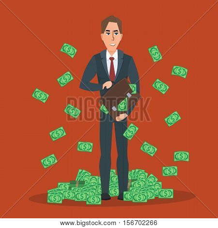 Successful businessman standing near a pile of money. Dollars falling from the sky. In the hands of a bag with money. Vector creative color illustrations flat design in flat modern style.