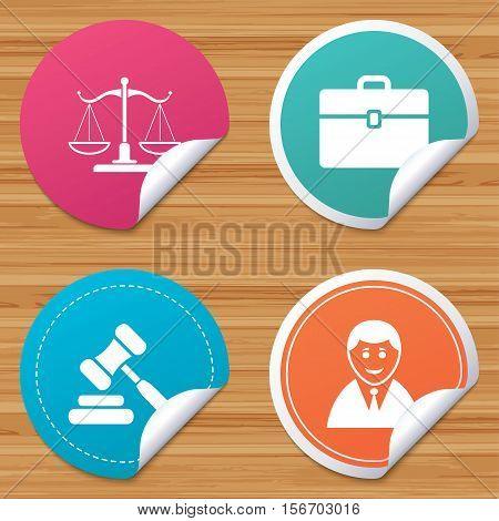 Round stickers or website banners. Scales of Justice icon. Client or Lawyer symbol. Auction hammer sign. Law judge gavel. Court of law. Circle badges with bended corner. Vector
