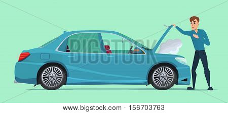 Man having Car Trouble. Car breaks down. vehicle recovery concept. Vector creative color illustrations flat design in flat modern style.