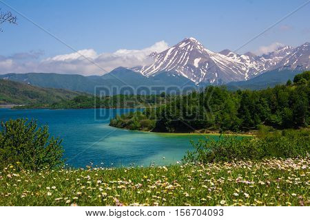 Beautiful view of Campotosto lake in the spring season