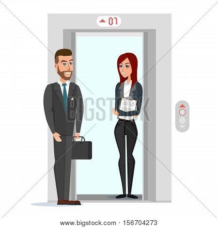 Business people in office building elevator. Vector illustration isolated on white background in flat style.