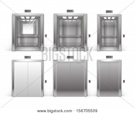 Vector Set of Realistic Open and Closed Chrome Metal Office Building Elevator Doors Isolated on Background