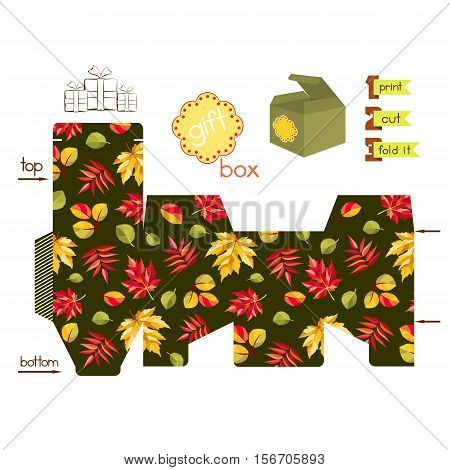Printable gift box with autumn leaves. Template for cubic gift box with lid. Thanksgiving theme favor box. Vector illustration.