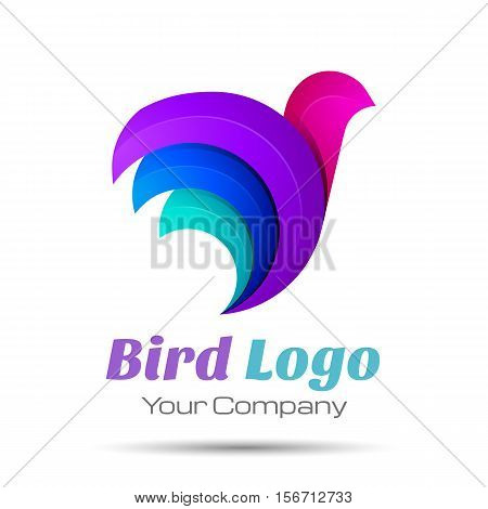 Bird Abstract Volume Logo Colorful. 3d Vector Design. Corporate identity