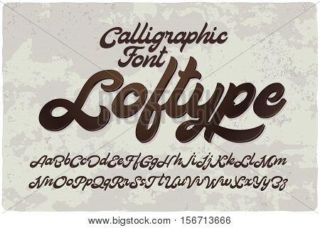 Vintage bold calligraphic brush font named