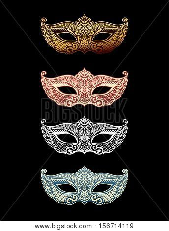 Beautiful set mask of lace. Mardi Gras vector background. Gold and black masquerade mask. Venetian carnival mask. Vintage unique luxury quality pattern