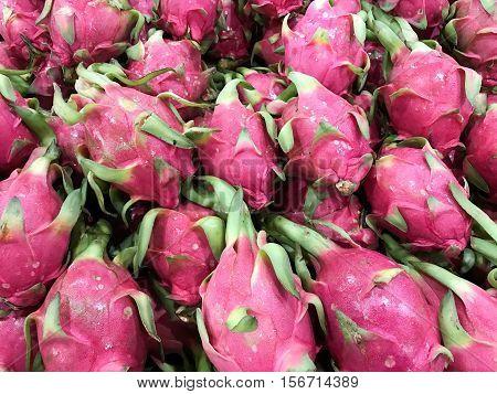 Hylocereus fruit on the fresh market in Thailand.