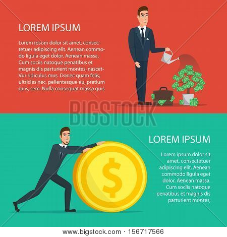 Businessman is watering a tree of money. Increase revenue, investment. Cartoon poster vector illustration. Banners for your web design in business style. Template for your text. Business set.