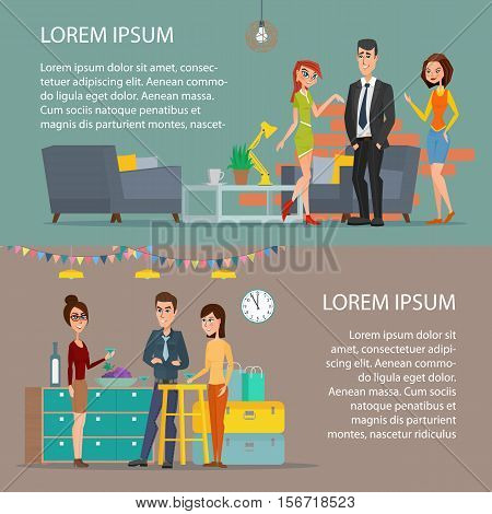 Women and man. Corporate holiday. Cartoon poster vector illustration. Banners set for your web design in business style. Template for your text.
